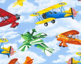 Airplanes, Fighter Jets, Propeller Planes, & Helicopters Cotton Fabric! [Choose Your Cut Size]