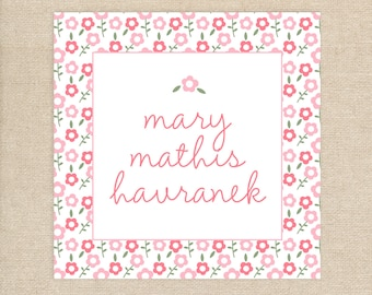 25  Personalized Enclosure Cards - Pink Floral