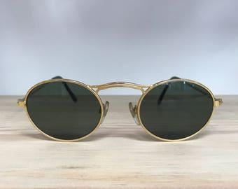Gold oval longer bridge vintage sunglasses