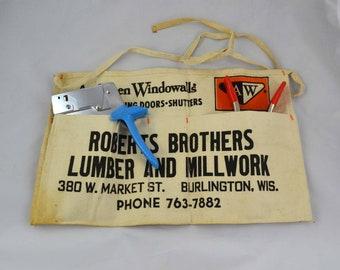 Vintage Work Apron, Canvas Roberts Brothers Lumber And Millwork Nail Or Tool Apron, Anderson Windows Advertising, Burlington Wisconsin