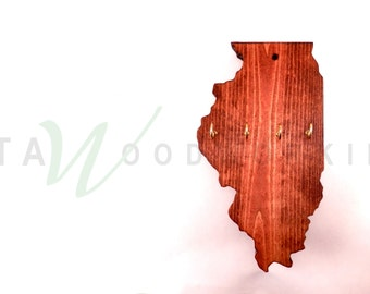 Illinois Shaped Wood Cut-out Key Holder - Wall Mount - Handmade