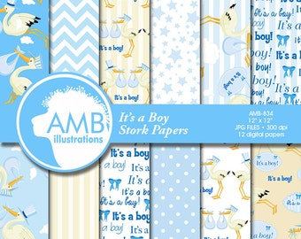 Stork digital papers, Baby Boy, Newborn papers, Baby Shower Papers, Special Delivery, It's a boy scrapbook papers, AMB-834