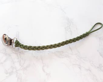 Green Braided Pacifier Clip / Paci Clip / Faux Leather / Macie and Me
