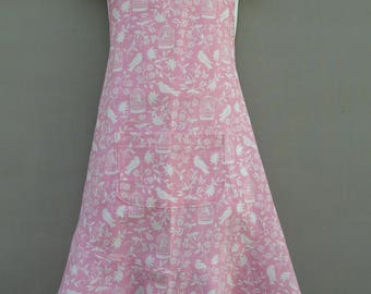Pretty Pink and White Tween Apron
