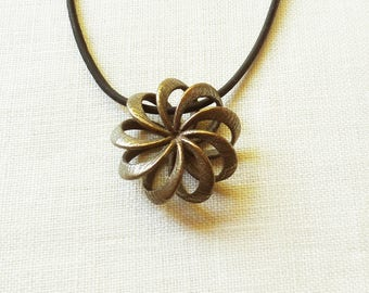 Rosette - 3D Printed Pendant in Bronze Plated Steel | 3D Printed Jewelry
