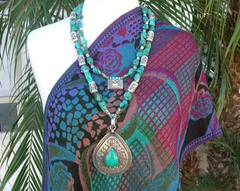 FABULOUS VERSATILE SET Afghan & Balinese Medallions, Natural Turquoise, Bali Sterling Beads, Detachable Pendant/Strand, by SandraDesigns