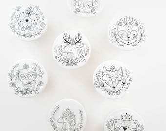 Crowned Woodland Animals Set of 8 Knobs