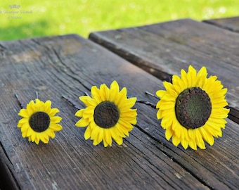 Sunflower bobby pins , Hairpins , Hairpins for bride, bridal accessories , hair accessories , Sunflower, Hairpins small , clothespins