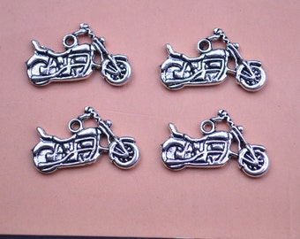 20pcs Motorcycle Charms Motorcycle Pendants Antiqued Tibetan Silver Double Sided 24 x 15 mm