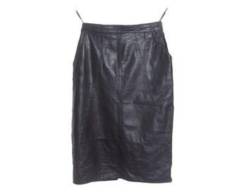 Vintage Norma Modell women skirt genuine leather black