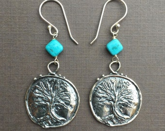 Sterling Tree of Life and Turquoise Drop Earrings