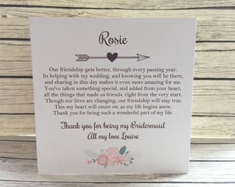 VPersonalised Vintage/Rustic 'Thank you for being my Bridesmaid' Card