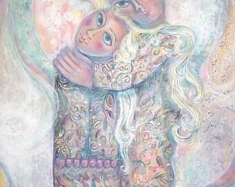 Large Original Acrylic Painting On Canvas. Israeli  Art. Embracing Couple. Colorful Naive Painting. Fine Arts. Plastic Arts. Pink Blue. OOAK