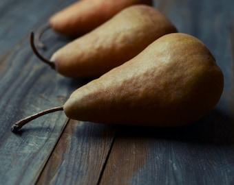 "Pear still life photography rustic farmhouse kitchen wall art food print dark gray wood ""Amber Pears"""