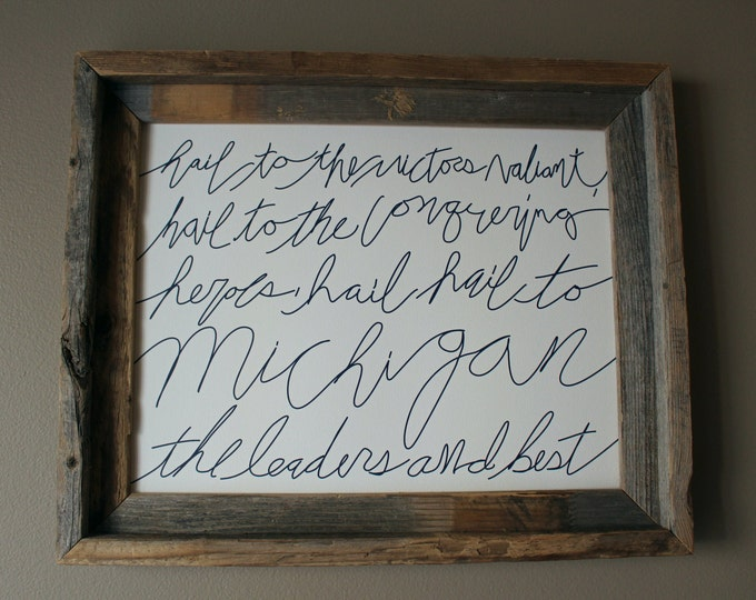 Hail to the Victors - University of Michigan Fight Songs - Word Art (Blue Writing) - Unframed