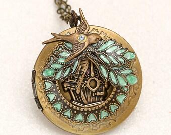 Bird Locket Necklace, Bird Locket, Bird Lover Gift, Bird House, Picture Locket Necklace, Green Locket