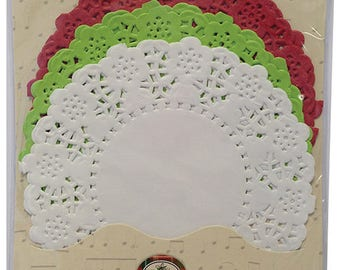 LOT 30 DOILY ROUND GREEN WHITE RED SCRAP EMBELLISHMENT SCRAPBOOKING PAPER