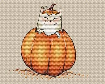 Halloween Cat in pumpkin Counted Cross Stitch Pattern Pick-a-boo Halloween pattern Pumpkin pattern cat chart Instant download Halloween gift