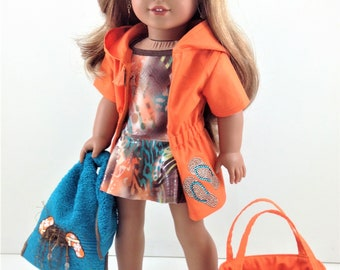 """18T At The Beach - 5 PCs -Swimsuit, Coverup, Beach Tote, Towel and Flip Flops   for 18"""" Dolls like American Girl (R) Dolls like Lea"""