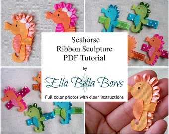 Introductory Price ** Instant Download, Seahorse Ribbon Sculpture TUTORIAL in PDF
