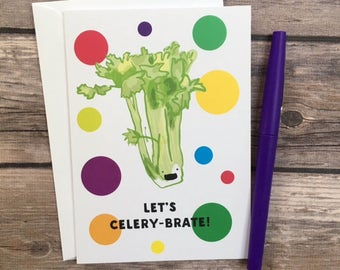 celery card - let's celebrate card - congratulations card - funny food card - let's party card - invitation card - vegetable card -