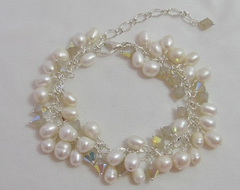 White Sands Pearl and Crystal Charm Bracelet