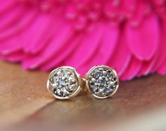 Vintage Style 9ct Rose Gold & Cluster Diamond Stud Earrings 0.07ct