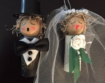Bride and Groom Wine Cork Ornaments with Black and ivory .. pictures represent back and white but what is available is black and ivory... TF