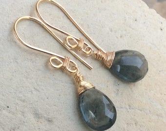 Moss AQUAMARINE Earrings, Moss Aquamarine jewelry, blue gemstone earrings, handmade earrings handmade jewelry March birthstone, artisan made