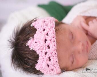Crochet baby crown, Newborn  princess crown, crochet photo prop,  Baby girl crochet crown, Daddys princess, baby shower gift, Gender reveal