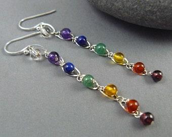 Gemstone Chakra Earrings, Sterling Silver, Healing Jewelry, Yoga Jewelry, Yoga Style, Gemstone Earrings, Rainbow Earrings, Chakra Jewelry
