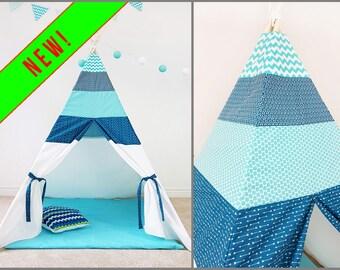 Kids Teepee Tent Blue Mood Polka Dot ZigZag Light teepee Play tent Photo prop tent Indoor teepee tent Large teepee boy Canvas teepee Fort