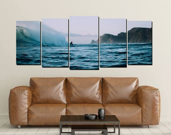 Surfing Canvas Wall Art, Surfer Ocean New Zealand Surf Waves Print Shore  Large 5 Panel