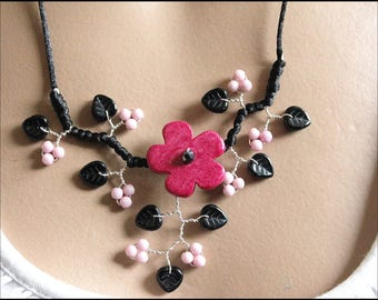 "Pink and black flower ""custom"" necklace"