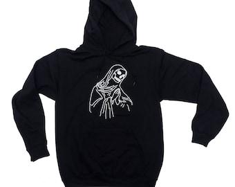 Prayers Hoodie. Praying Skeleton Reaper Hooded Sweater Sweatshirt