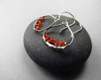Boho Earrings, Orange Earrings, Carnelian Earrings, Gemstone Earrings, Unique Earrings, Wire Wrapped, Sterling Silver, Delicate Earrings