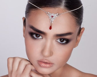 Celtic Headpiece with Garnet - celtic jewelry , celtic headpiece , elvish headpiece , elvish jewelry , fantasy headpiece