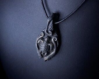 Earthborn, Turtle Totem  /Sculpted Pendant/Witch Jewelry/Handmade/Storm/Pagan/Heathen/Amulet/Turtle/Earth/Ocean/Black/Dark/Sea