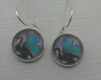 Dragon silver dangle earrings