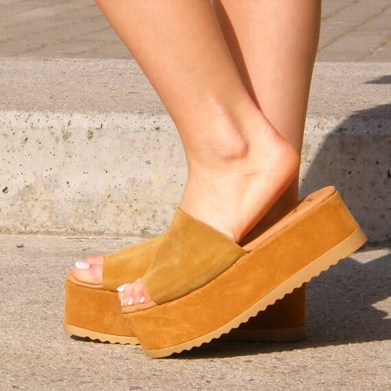 Deep women honey slides sandal sandals color leather sandals sandals Women Handmade Genuine Greek leather platform Sandals Suede Leather PS7wdqxdv