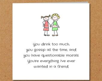 BEST FRIENDS Friendship Birthday Card for Girl, Female, Bestie, BFF - Funny, humorous, amusing and fun - Gin, Gossip