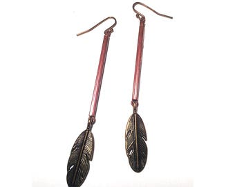 Boho Brass Feather Earrings