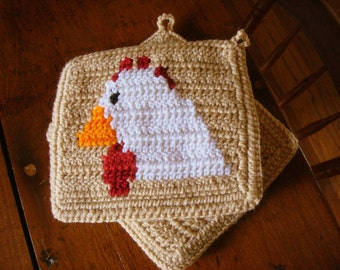 Chicken Potholders, Light Brown Crochet Hen Potholders, Pot Holders Set Two Farm Animal Rustic Country Kitchen Farmhouse Decor MADE TO ORDER