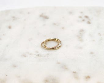 Tri Color Interlocking Ring-infinity ring-rolling ring-dainty ring