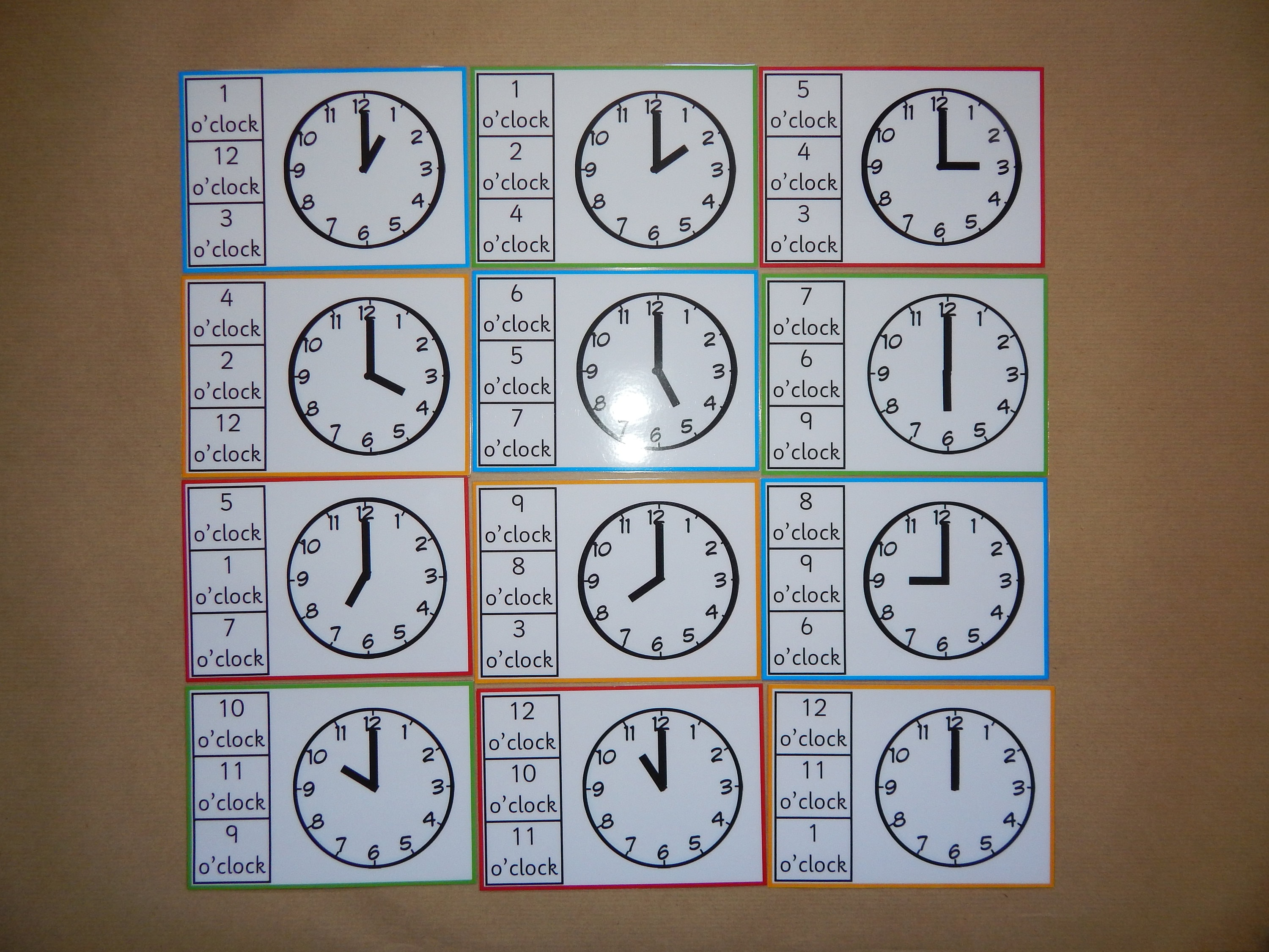 Telling the Time Clip Cards o\'clock peg cardsclock
