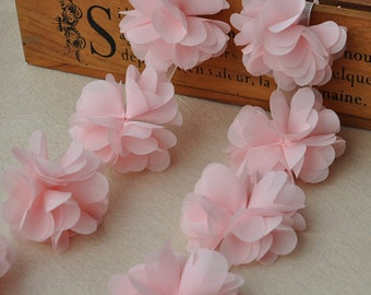 Petite dusty pink chiffon flower chiffon flower flower puff light pink lace trim 3d chiffon flowers baby headband supplies couture making mightylinksfo Images