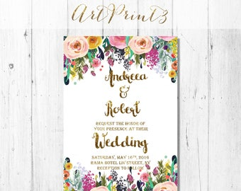 Printable Wedding Invitation, Gold Wedding Invitation Printable, Wedding Invitation Printable, Floral Rustic Printable Wedding Invitation