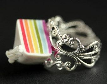 Rainbow Cake Ring. Rainbow Ring. Food Ring. Adjustable Ring in Silver Filigree. Rainbow Jewelry. Polymer Clay Food Jewelry. Handmade Jewelry
