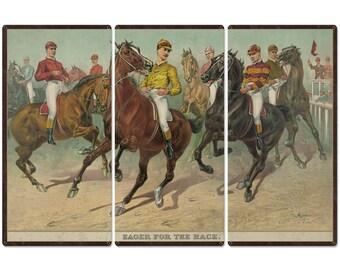 """Eager For The Race, Seven Jockeys Currier & Ives 1893, Horse Races, Triptych Metal Sign, Americana, Wall Decor, Wall Art 54""""x36"""""""
