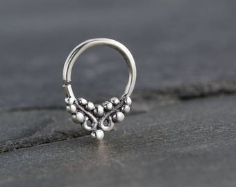 18g Tiny Septum Ring For Pierced Nose. Silver Septum Ring. Nose Ring. Tribal Septum Ring. Septum Jewelry. Tribal Silver Septum. Septum Hoop